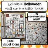 Halloween PECS communication binder. 400+ visual icons. Editable.