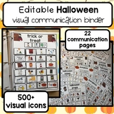 Halloween visual communication binder. 400+ icons picture exchange. Editable.