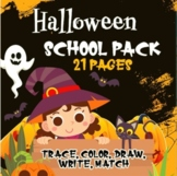 Halloween Pack Top Worksheets Trace, Color, Draw, Write an