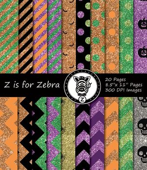 Halloween Paper Pattern Pack Glitter 2 - 20 pages - Commercial OK