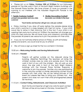Halloween Parade and Costume Contest Schedule