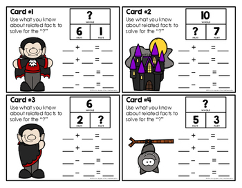 Halloween Part-Part-Whole Related Facts Task Cards Sampler