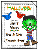 Halloween Sight Word Partner Game  Dolch Pre-Primer