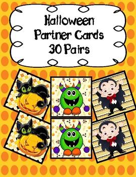 Halloween Partner Pairing Cards- 30 Pairs