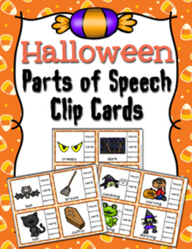 Halloween Parts of Speech Clip Cards