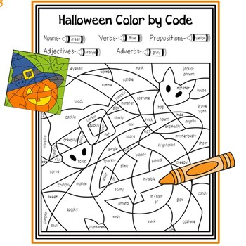 Halloween Parts of Speech Color by Code