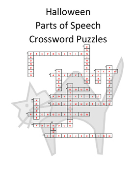 Halloween Parts of Speech Crossword Puzzles