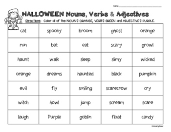 Halloween Parts of Speech Review Packet - Sorting Nouns, Verbs and Adjectives