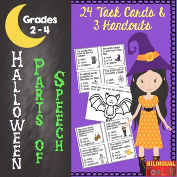 Parts of Speech Halloween Task Cards in English 2-4