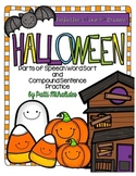 Halloween Parts of Speech Word Sort and Writing Center