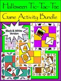 Halloween Party Activities: Halloween Tic-Tac-Toe Games Activity Bundle - B/W