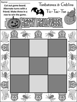 Halloween Party Activities: Tombstones & Goblins Tic-Tac-Toe Halloween Game -B/W