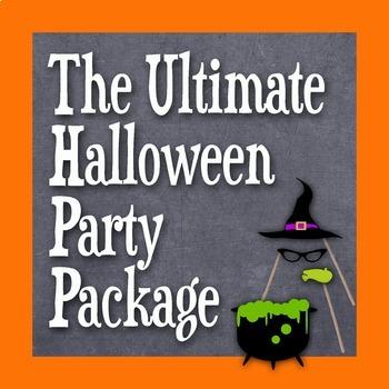 Halloween Party Bundle - Photo Booth Props, Decorations, Bingo, Games -Printable
