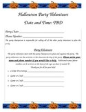 Halloween Party Classroom Sign Up