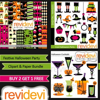 Halloween Party Clip Art and Digital Paper Bundle (3 packs)