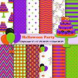 Halloween Party Digital Paper + Clipart