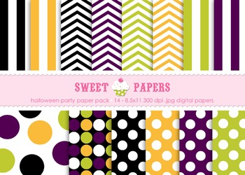 Halloween Party Digital Paper Pack - by Sweet Papers