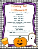 Halloween Party, Editable Parent Letter and Reminder Notes