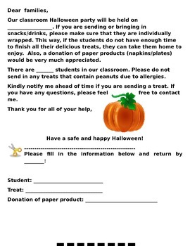Halloween Party Letter
