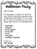 Halloween Party Letter for Parents-English/Spanish
