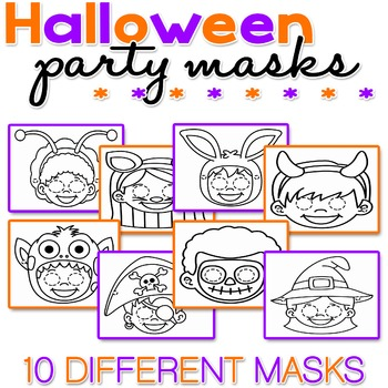 Halloween Party Masks - Coloring - NO PREP - PRINT & GO -