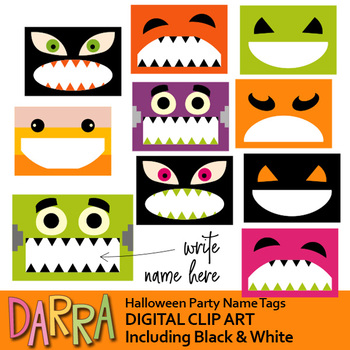 halloween party name tags clip art