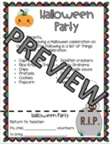 Halloween Party Note / Letter English and Spanish