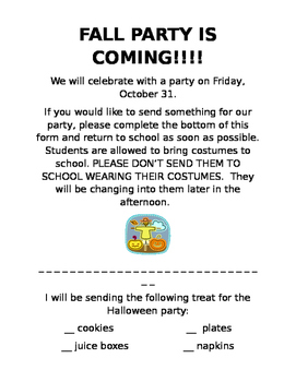 Halloween Party - Note home- Fall party - editable