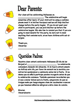 Halloween Party-Note to parents in English and Spanish