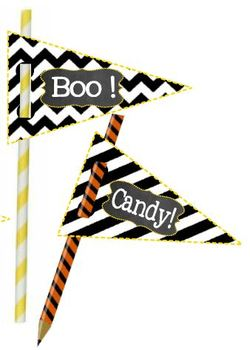 Halloween Party Pencil & Straw Toppers ** With Free Reward Toppers **
