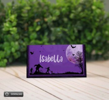 Halloween Party Place Cards, Walking Dead Tent Cards, Name Cards, Food Cards