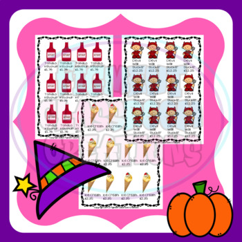 Halloween Party Planner Maths activity for addition or subtraction in £