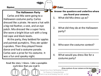 Halloween Party Reading Passage