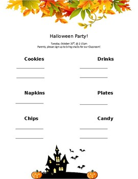 Halloween Party Sign-Up Form