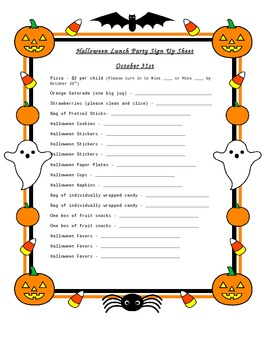 halloween party sign up sheet by katrina lopez tpt