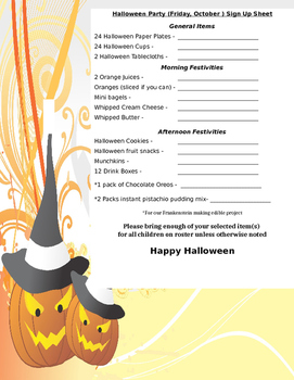 Halloween Party Sign Up Sheet PreK-2