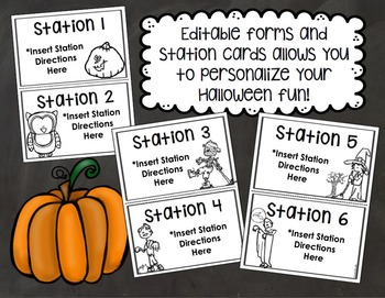 Halloween Party Starter Pack Templates, Forms and Stations EDITABLE