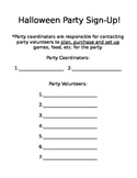 Halloween Party Volunteer Sign Up!