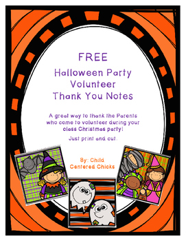 FREE Halloween Party Volunteer Thank You Notes
