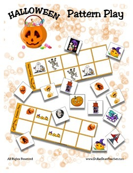Halloween Pattern Play Game { Common Core } Math Reading Kindergarten