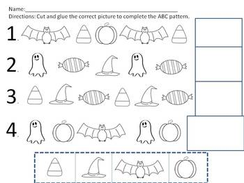 Halloween Pattern Worksheets Ab Aab And Abc Patterns By Mrs Hodge S Kids