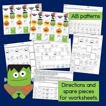 Halloween Patterns Math Center with AB, ABC, AAB & ABB Patterns