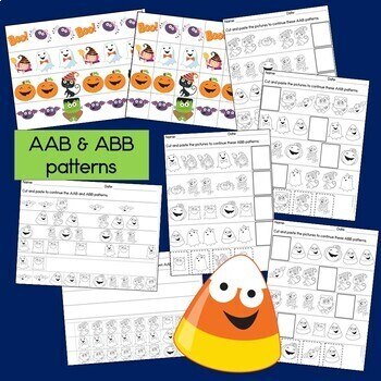 Halloween Math Center with AB, ABC, AAB & ABB Patterns