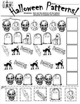 Halloween Patterns Cut and Paste Worksheet