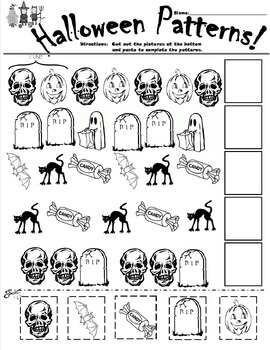 Halloween Patterns Cut and Paste Worksheet