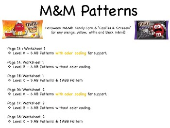 Halloween Patterns (Differentiated Worksheets/Activities)