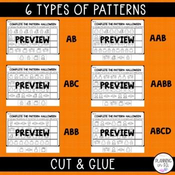 Halloween Patterns Worksheet (color, cut, paste)
