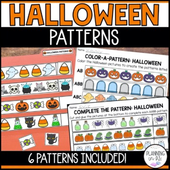 halloween patterns worksheet color cut paste by miss jill tpt. Black Bedroom Furniture Sets. Home Design Ideas