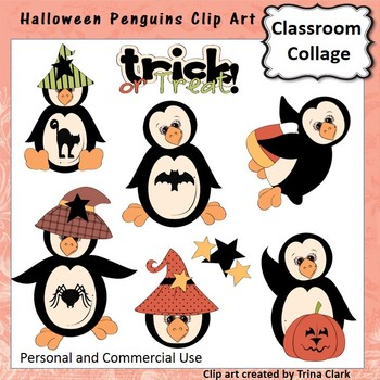 Halloween Penguins Clip Art - Color - pers & commercial use