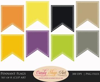 Halloween Pennant Flags Clip Art, Halloween Banner Flags, Banner Flags